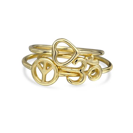 Peace Love Heart Aum Om Ohm Stackable 1MM Knuckle Midi Ring Set Sanskrit Symbol Yoga 14K Gold Plate 925 Sterling Silver (Om Symbol Ring)