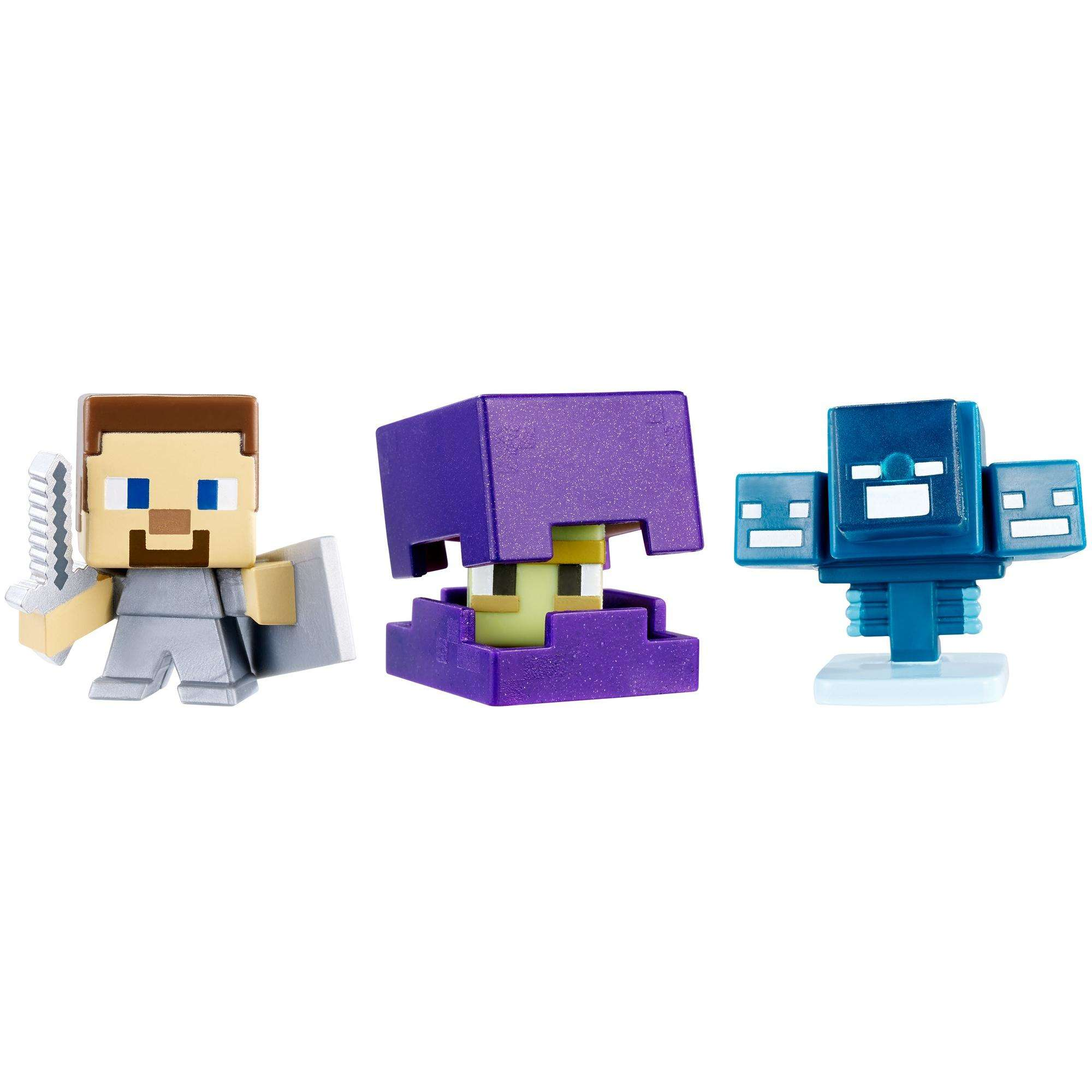 Minecraft Mini Figure 3-Pack Shulker, Steve With Shield, Skullfire Wither by Mattel