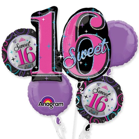 Sweet 16 Pink Theme Foil Balloon Bouquet - Sweet Sixteen Balloons