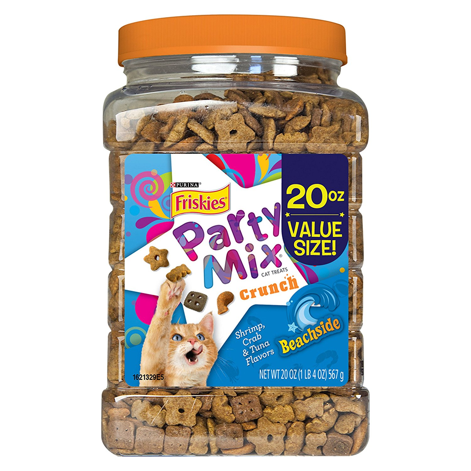 Crunch Beachside Cat Treats 20 oz. Canister, USA, Brand Purina Friskies Party Mix by