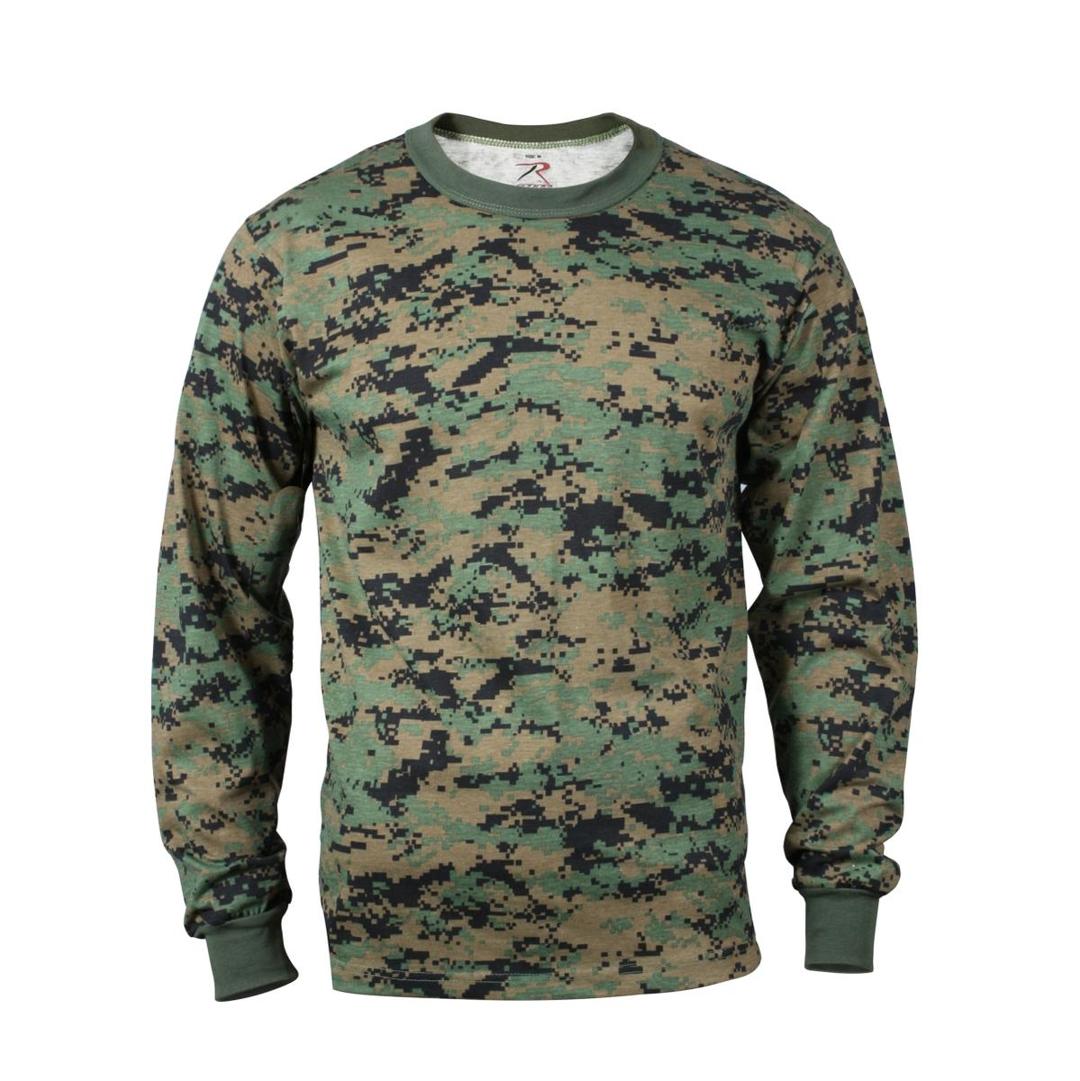 Woodland Digital Camo Long Sleeve Mens T-shirt by Rothco