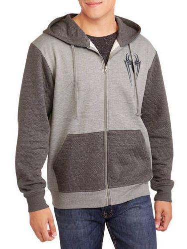 Spider-Man Fleece Zip Up Quilted Hoodie Sweater Jacket Superhero Men Grey