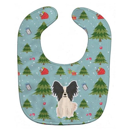 Carolines Treasures BB4736BIB Christmas Papillon Black & White Baby Bib - image 1 of 1