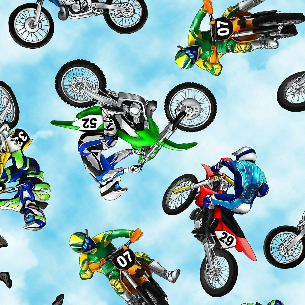 Mini Dirt Bikes-Motorcycles Cotton Fabric By Timeless