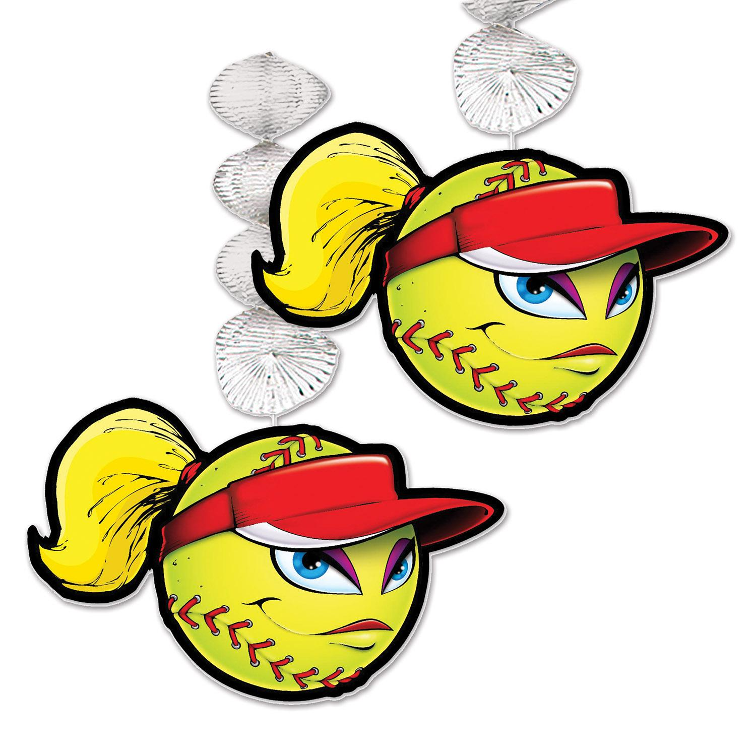 Club Pack of 24 Softball Danglers Hanging Sports Party Decorations 30""