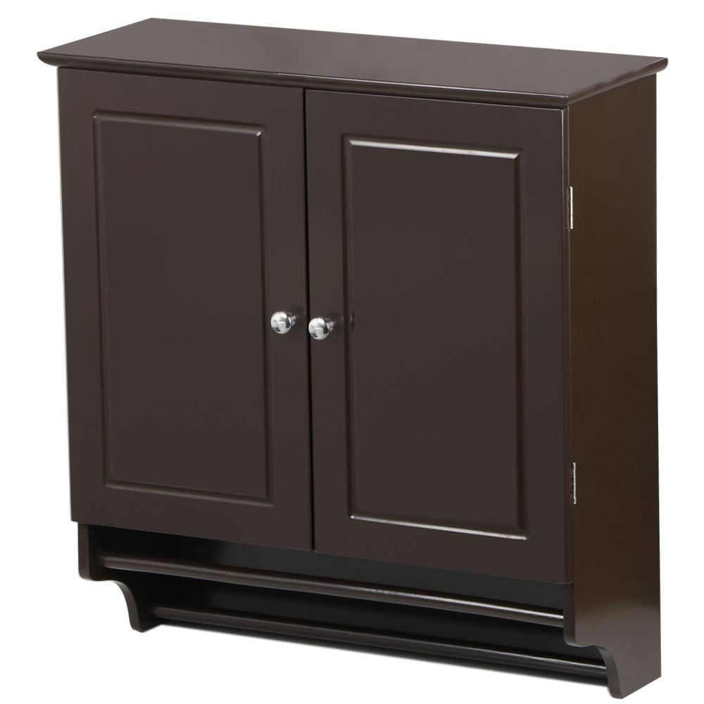 Yaheetech Bathroom/Kitchen Wall Mounted Cabinet Double Door & Hanging Bar Storage Cupboard, Espresso