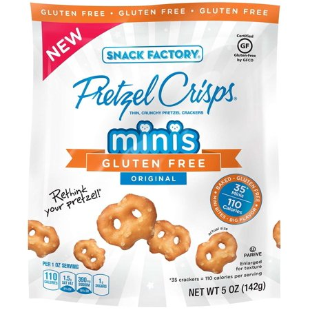 (2 Pack) Snack Factory Gluten Free Pretzel Crisps, Original Minis, 5 Oz ()