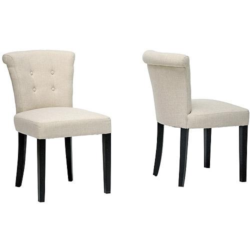 Baxton Studio Philippa Linen Upholstered Dining Chair, Set of 2, Beige