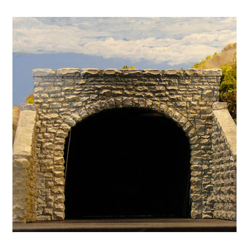 HO Dbl Random Stone Tunnel Portal Multi-Colored