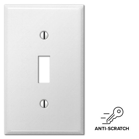 Smooth White Steel Single Toggle Wall Switch Plate Cover, Anti Scratch