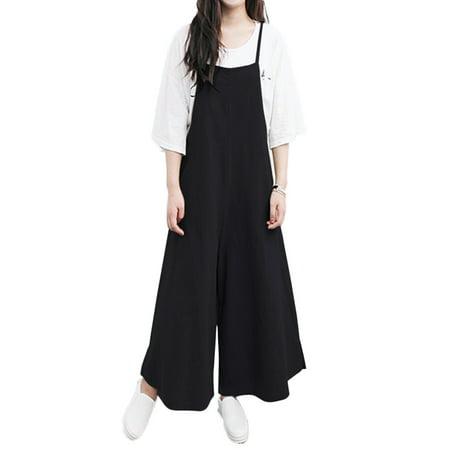 Women Loose Solid Tank Jumpsuit Long Suspender Overalls Bib Pants