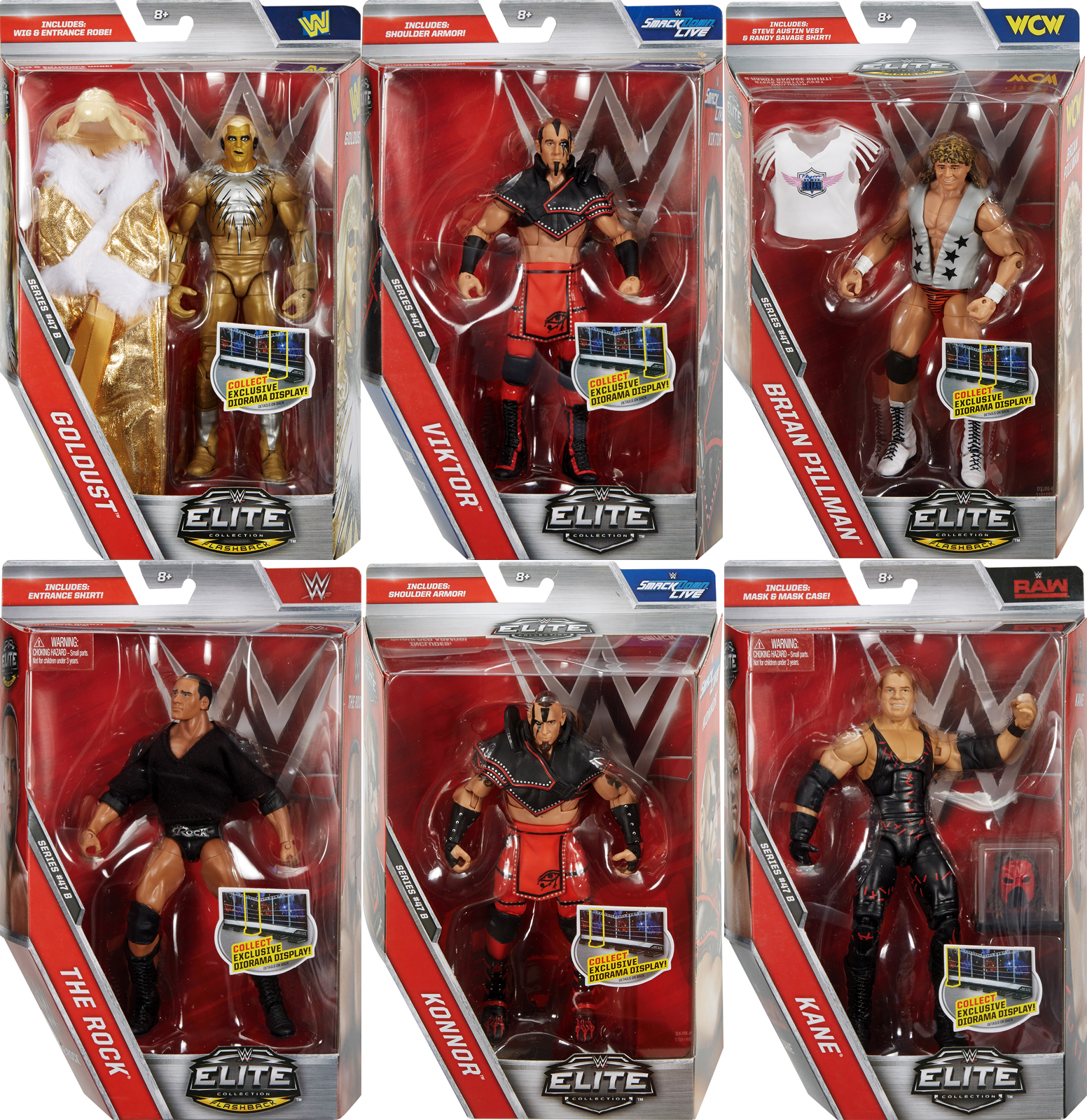 Complete Set of 6 WWE Elite 47.5 Toy Wrestling Action Figures by
