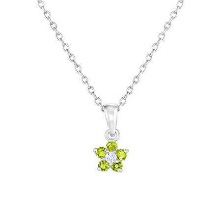 Flower Pendant Necklace in Sterling Silver with Simulated Birthstone CZ for Girls, 16