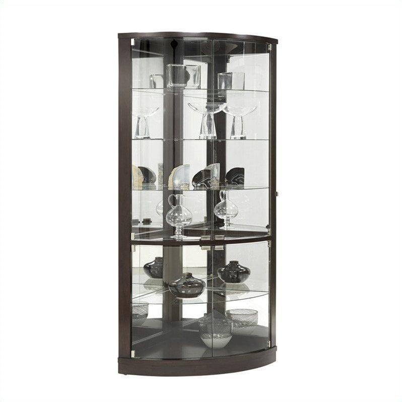 pulaski corner curio cabinet in dark wood - walmart