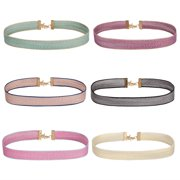 BodyJ4You 6PC Choker Necklace Set Women Girls Green Beige Pink Purple Grey Pastel Ribbon Fashion