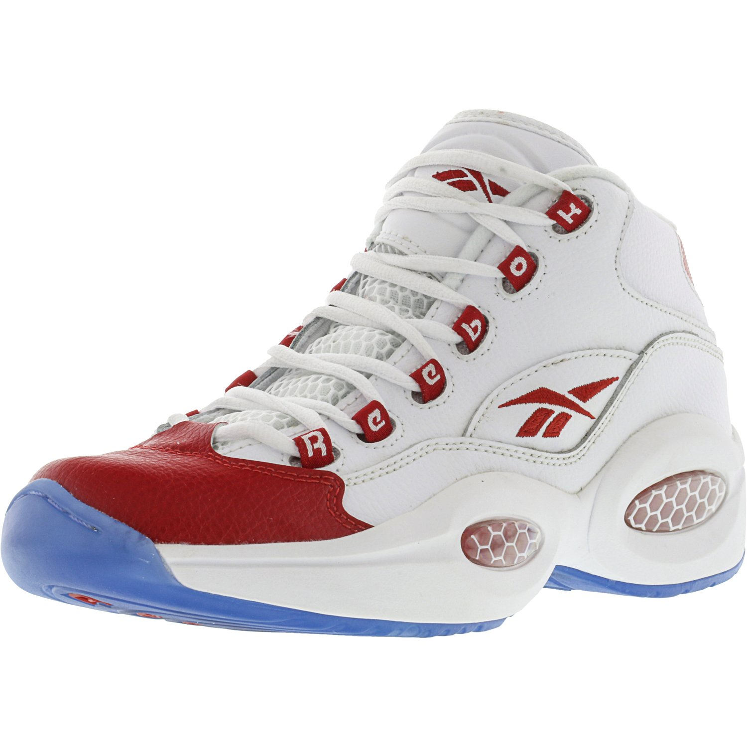 Reebok Reebok Boy's Question Mid White Pearlized Red High Top Basketball Shoe 7M