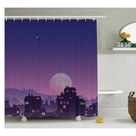 Wanderlust Decor Shower Curtain  Old City Illustration With Houses Full Moon Starry Night Sky Silhouette  Fabric Bathroom Set With Hooks  69W X 75L Inches Long  Purple Navy  By Ambesonne