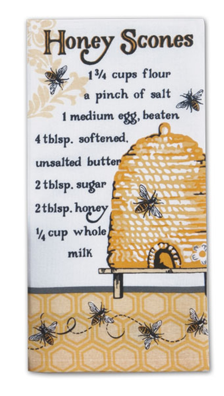 Bee Hive Honey Scones Recipe Flour Sack Kitchen Dish Towel Cotton by Kay Dee