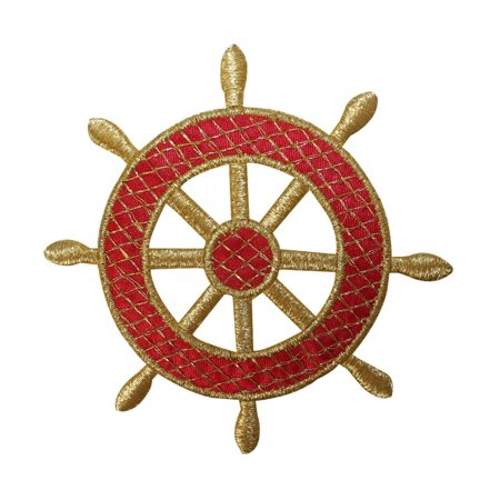 ID 2643 Ship Wheel Gold Lattice Patch Nautical Boat Embroidered Iron On Applique
