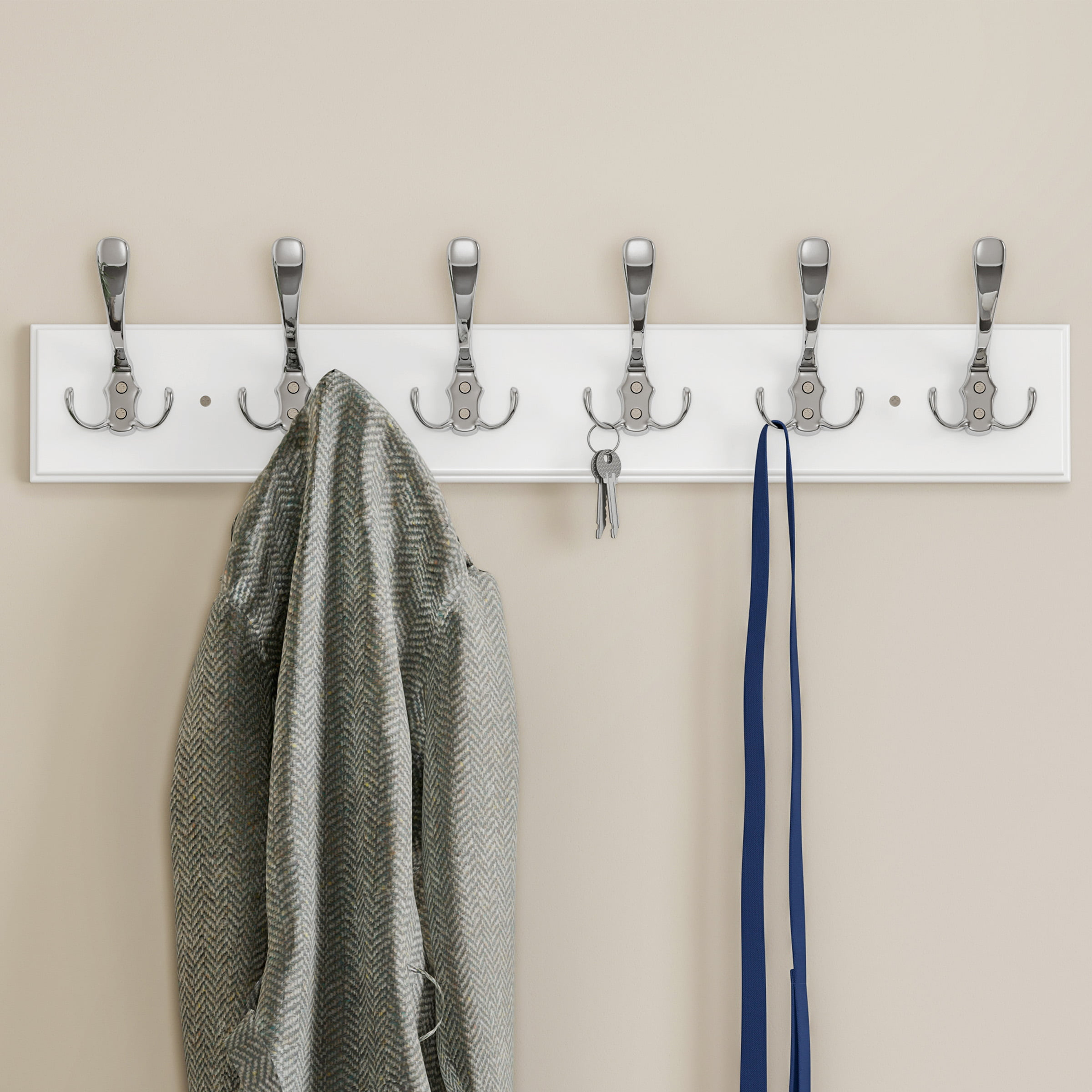 Wall Hook Rail Mounted Hanging Rack, How To Put Coat Hanger On Wall