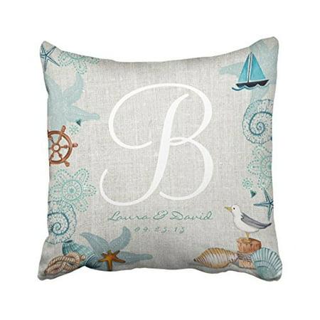 Winhome Square Throw Pillow Covers Beautiful Retro Nautical Beach Wedding Customizable Pillowcases Polyester 18 X