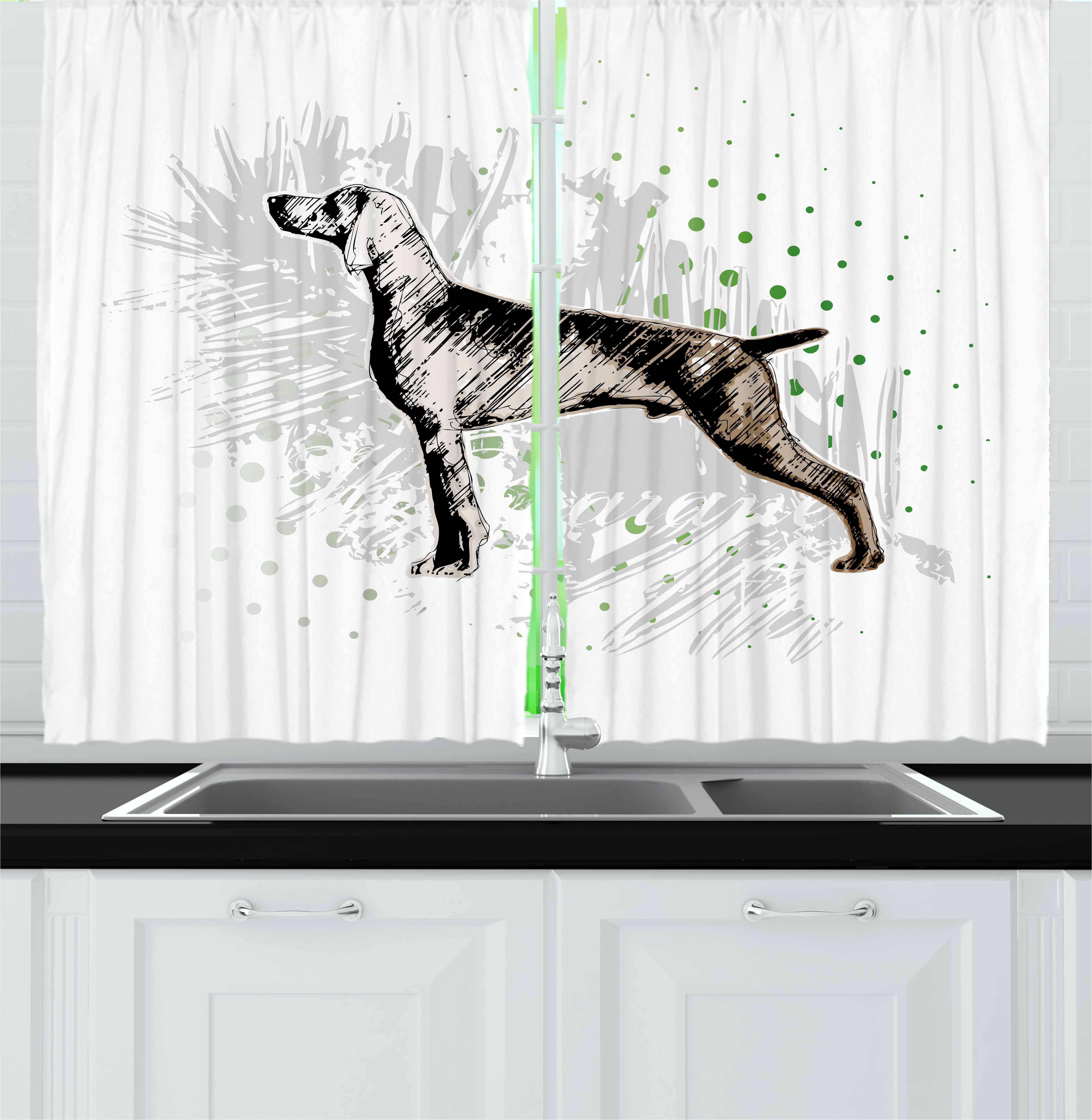 Hunting Curtains 2 Panels Set, Sketch of the Weimaraner Dog Canine on Grungy Abstract Design Background, Window Drapes for Living Room Bedroom, 55W X 39L Inches, Black Grey Green, by Ambesonne