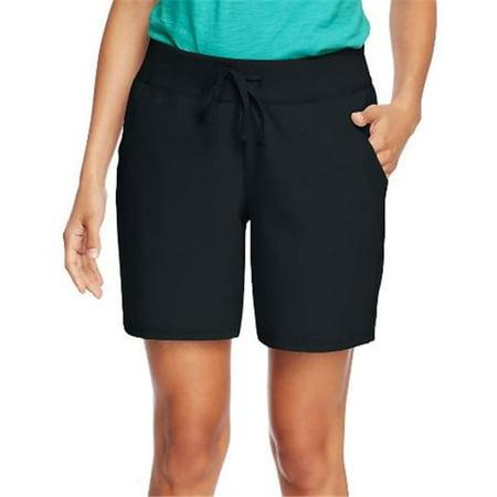 - O9264 Womens Jersey Pocket Shorts, Black - Large