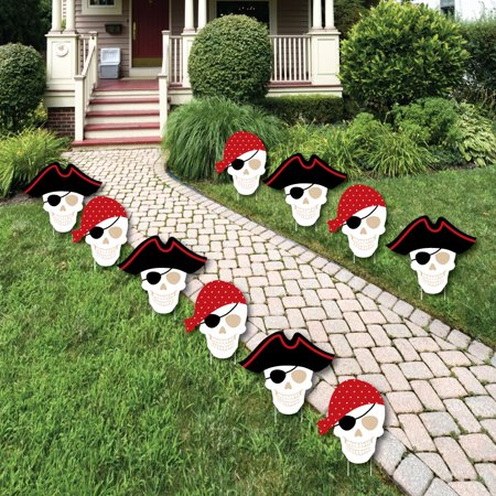 beware of pirates pirate skulls lawn decorations outdoor pirate birthday party yard decorations - Walmart Christmas Lawn Decorations
