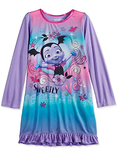 Disney Vampirina Girls Long Sleeve Nightgown Pajamas (8, Purple)