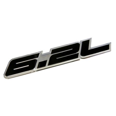 6.2L Liter in BLACK Highly Polished Aluminum Silver Chrome Car Truck Engine Swap Badge Nameplate Emblem for Chevy Camaro SS Corvette Cadillac L99 LS3 LSA C6 Pontiac G8 GXP V8 Vauxhall VXR8