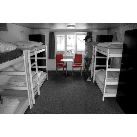 - Canvas Print Bed Eiger North Face Room Grindelwald Hostel Stretched Canvas 10 x 14