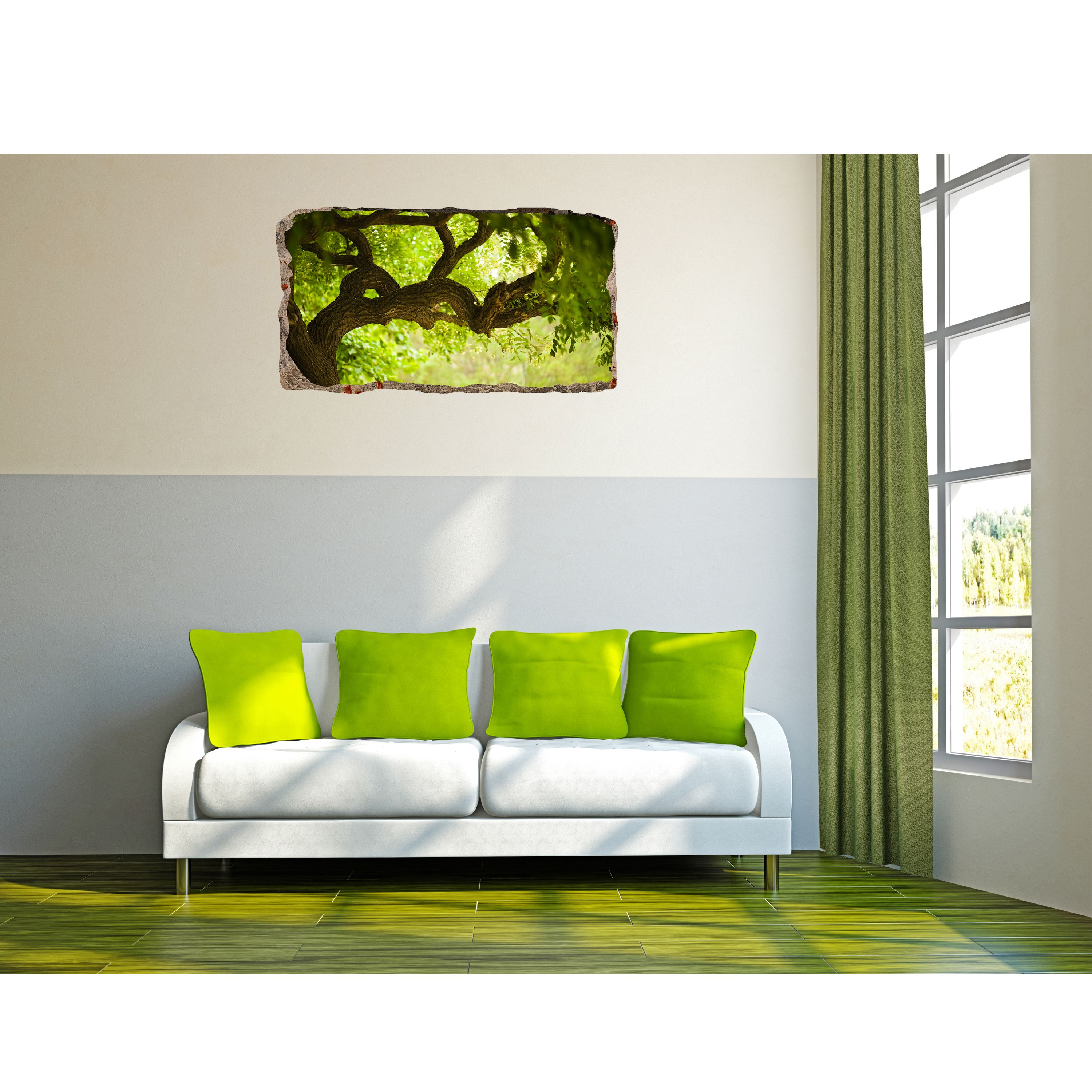 Startonight 3D Mural Wall Art Photo Decor Green Tree Amazing Dual View Surprise Medium Wall Mural Wallpaper for Bedroom Nature Collection Wall Paper Art 32.28 inch By 59.06 inch