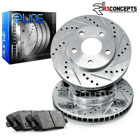 Front eLine Drilled Slotted Brake Disc Rotors & Ceramic Brake Pads Bronco,F-150