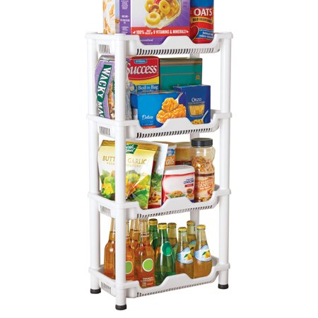 Versatile 4 Tiered Plastic Storage Shelf That is Easy-to-Assemble with No Tools and Perfect for Extra Storage in Any Room (Versatile Shelving)