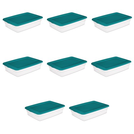Sterilite, Set of (2) 28 Qt./26 L Storage Boxes, Teal Sachet, Case of 4