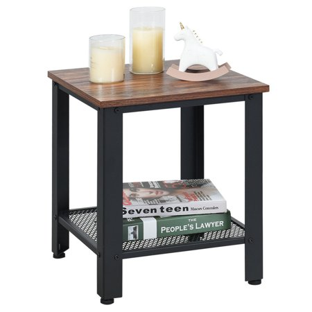 Gymax Industrial End Table 2-Tier Side Table W/Storage Shelf Rustic Sofa Table Black - image 1 of 9