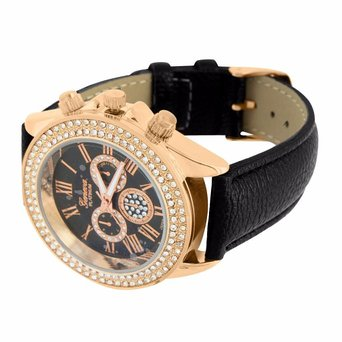 Rose Gold Womens Watch Simulated Diamond Roman Numeral Dial Black Leather Band