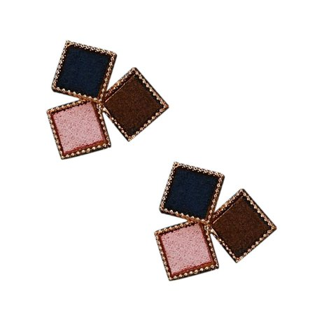 babydream1 Splicing Color Women Girl Geometric Shaped Earrings Ear Studs Metal Plating Earrings Personality Jewerly - image 4 of 5