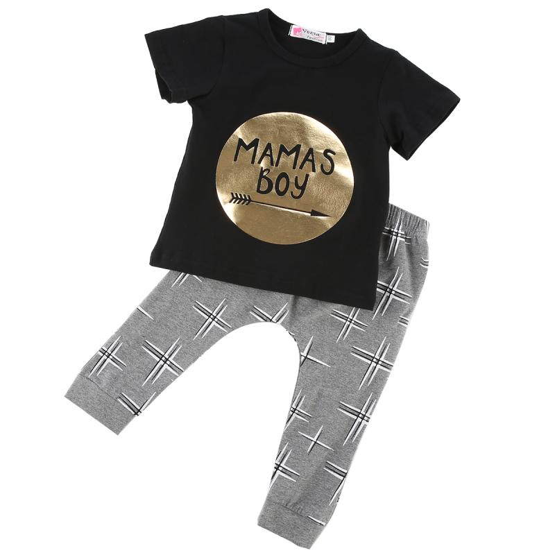 Newborn Baby Boys Cotton Outfits Set Jumper Shirt Tops + Pants 2pcs Clothes Clothing