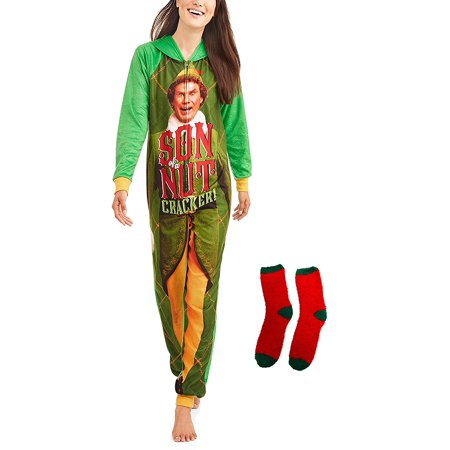 Buddy the Elf Women's Son of a Nutcracker Pajama Union Suit One Piece With Sock Set - Buddy The Elf Clothes