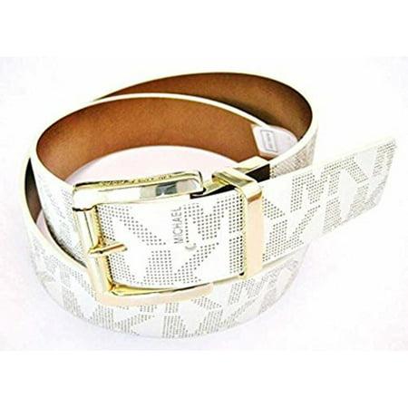 - Michael Kors Women's Signature MK Logo Reversible Belt Vanilla To Brown 553119C, Large