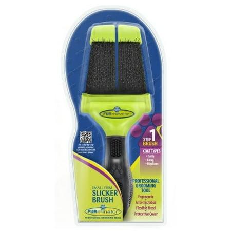 FURminator Small Firm Slicker Brush for Curly, Long and Medium Hair