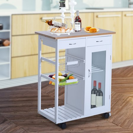 HomCom 34 in. Rolling Kitchen Trolley Serving Cart with Glass Door Cabinet