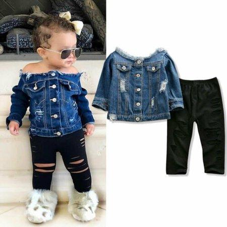Toddler Kid Baby Girls Denim Jacket Off Shoulder Tops + Pants Autumn Clothes Set Jacket Top Skirt Pants