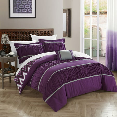 Chic Home 8 Piece Brooks Pleated Amp Ruffled With Chevron