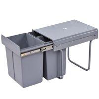 "GHP 19""x13.5""x16"" Gray 3-Compartment 10.5-Gallon Capacity ABS Shell Recycling Bin"