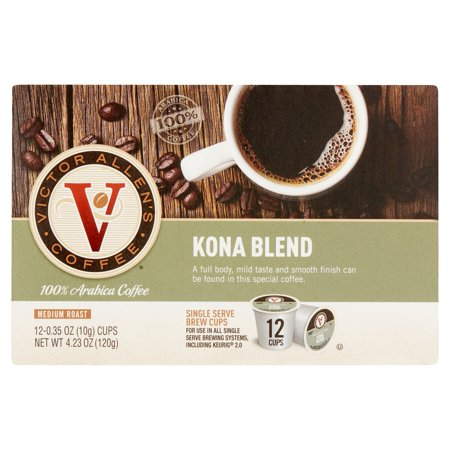 Hualalai Kona Coffee - Victor Allen's Coffee Medium Roast Kona Blend Single Serve Brew Cups, 0.35 oz, 12 count
