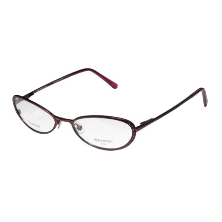 New Vera Wang Epiphany I Womens/Ladies Cat Eye Full-Rim Titanium Bordeaux Titanium Cat Eye Style Handmade In Italy Frame Demo Lenses 49-17-130 Rhinestones Spring Hinges (Best Spectacle Frames For Round Face)