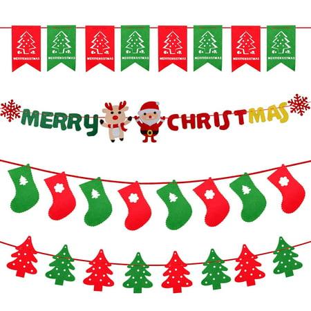 Christmas Flag Banners, Home Decor Bunting Garlands Sign Christmas Party Decor Holiday String Ornaments Designed Santa Claus Christmas Tree Santa Socks Rabbit Christmas Tree Flag ()