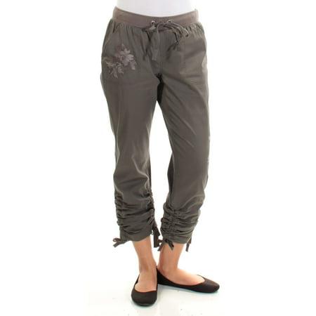 INC Womens Gray Embroidered Tie Capri Pants  Size: 2 (Gray Capris)